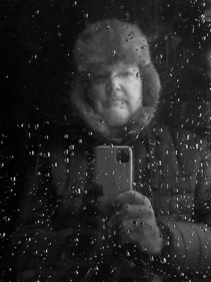 Self Portrait on a Train in Alaska