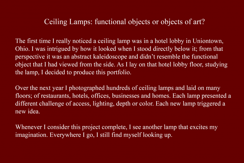 Artist Statement - Ceiling Lamps