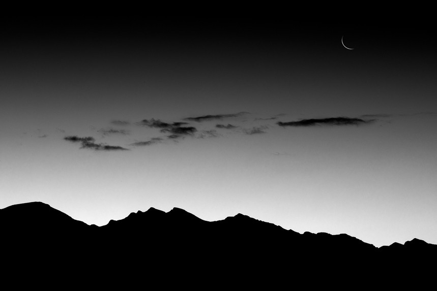 Moon and Clouds over Death Valley